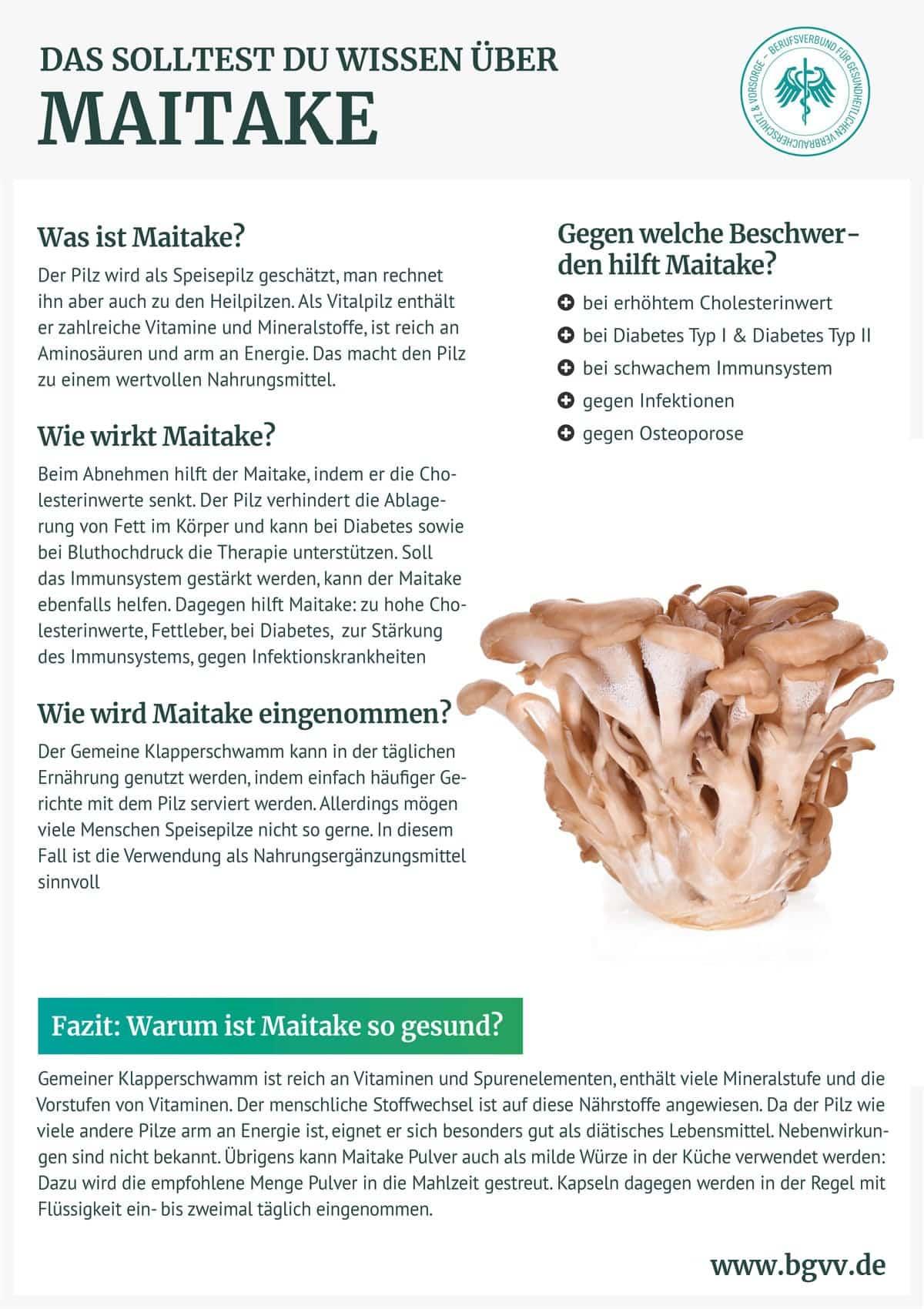 Infografik Maitake BGVV