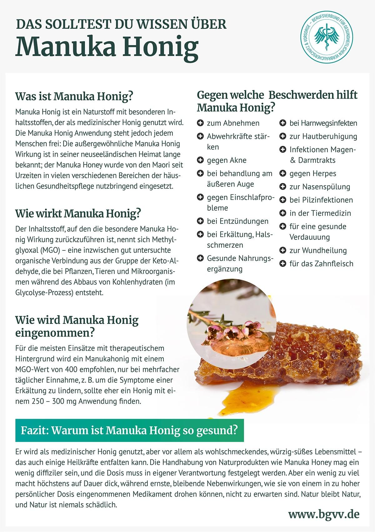 Infografik Manuka Honig bgvv