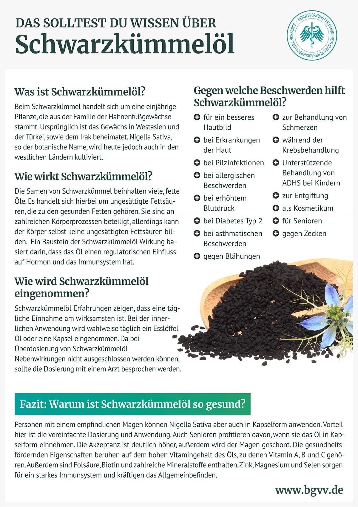Infografik Schwarzkümmelöl bgvv