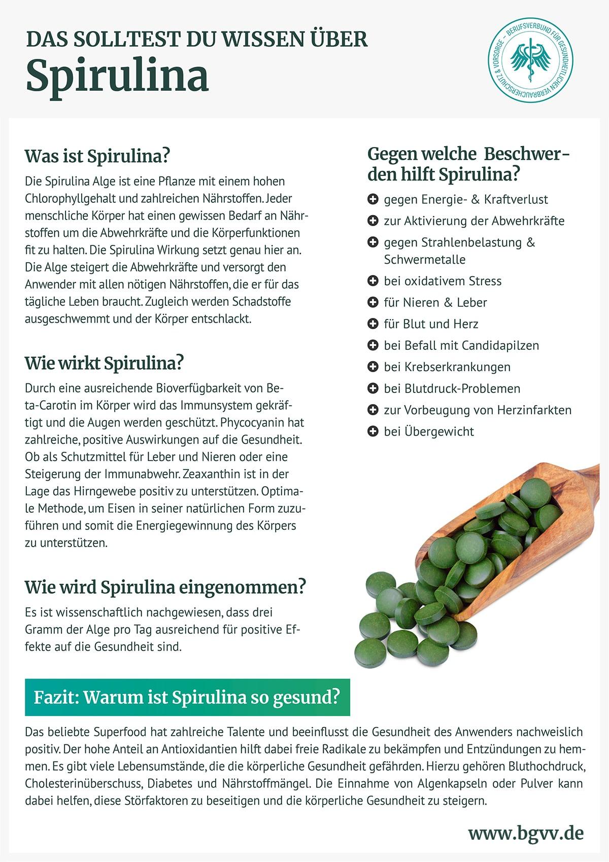 Infografik Spirulina bgvv